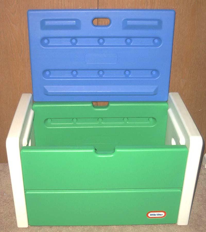 vintage little tikes toybox toy box lid green blue. Black Bedroom Furniture Sets. Home Design Ideas